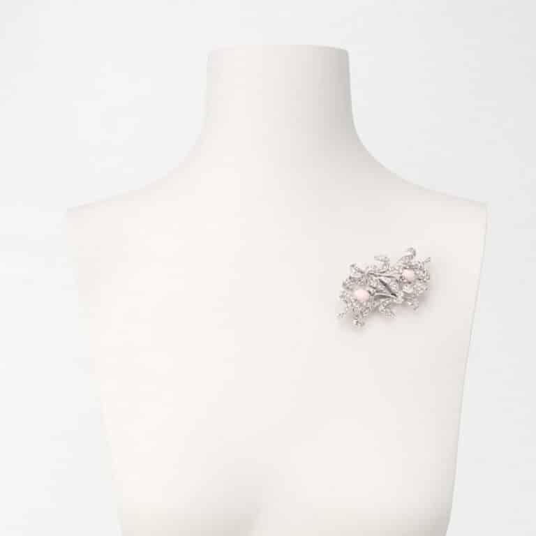 spilla orchidea rosa argento