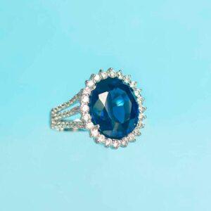 Anello Argento Blu zaffiro