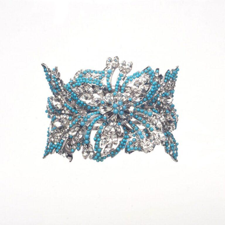 Bracciale rigido fiori colore argento e turchese