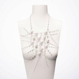 collana design ragnatela perle