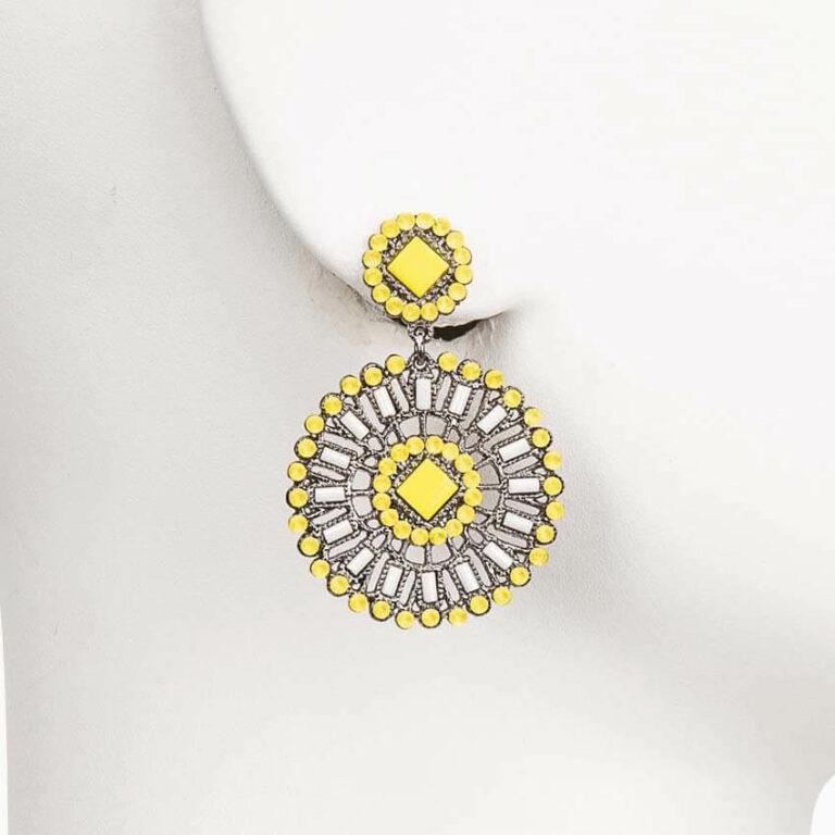 orecchino perno cristallo giallo bianco