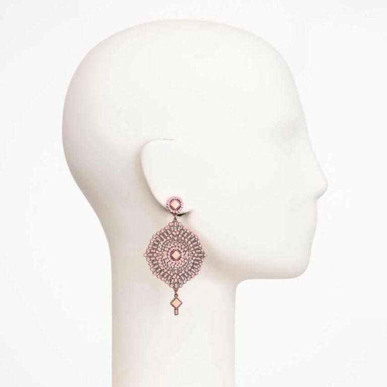orecchino perno cristallo rosa cipria