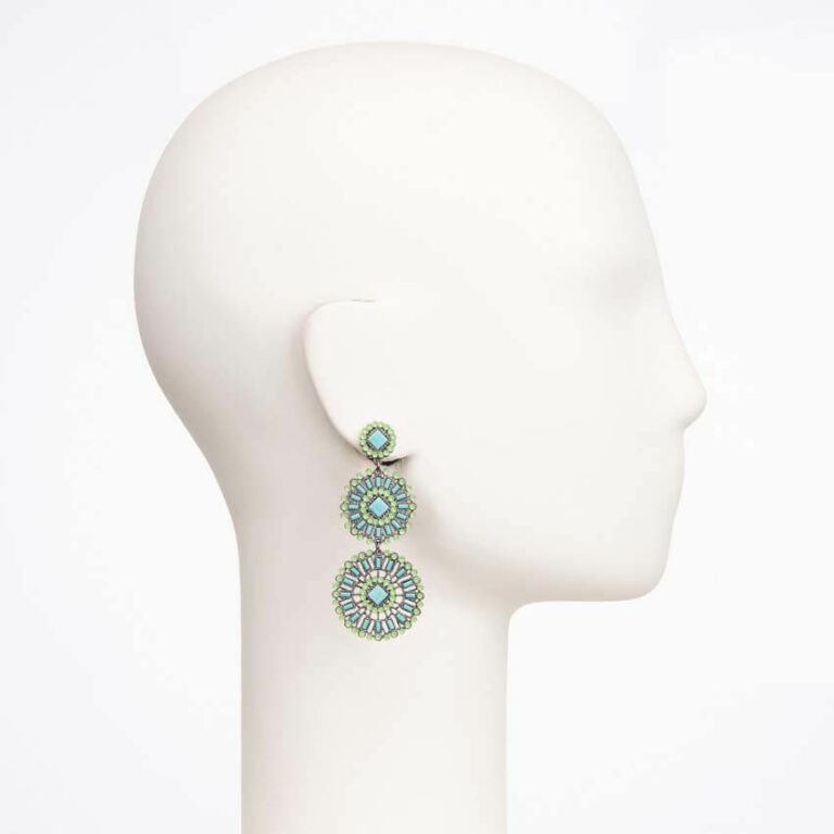 orecchino perno cristallo verde turchese