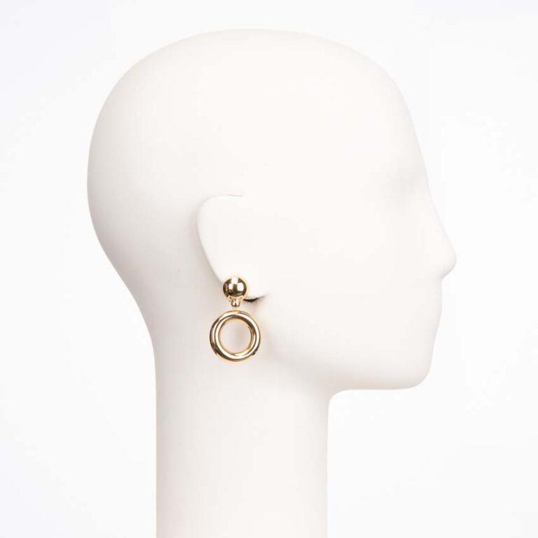 Orecchino a clip cerchio pendente in argento placcato oro