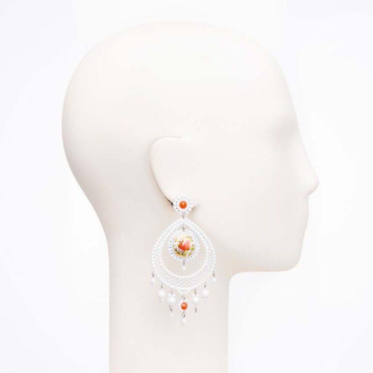 orecchino perno cristallo opaco bianco