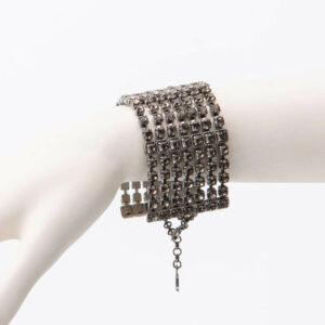 Bracciale maglia morbida cristalli argento grigio fumè 1