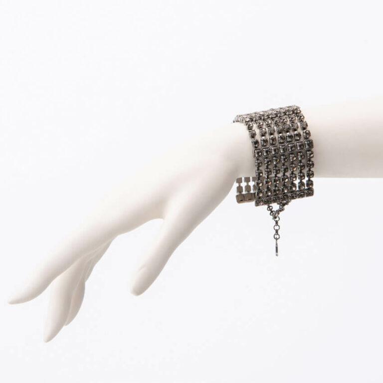Bracciale maglia morbida cristalli argento grigio fumè 2
