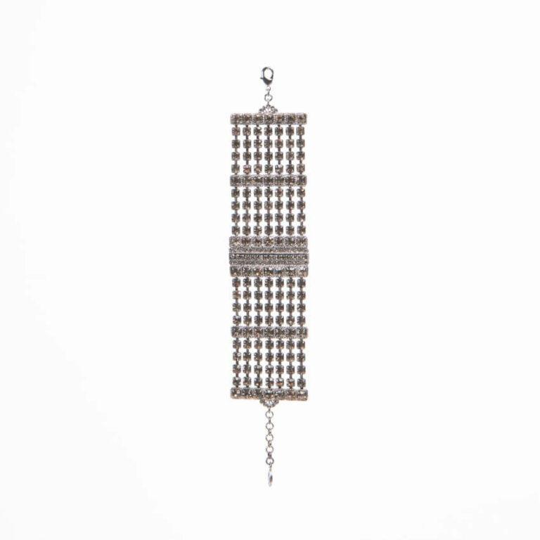Bracciale maglia morbida cristalli argento grigio fumè 3
