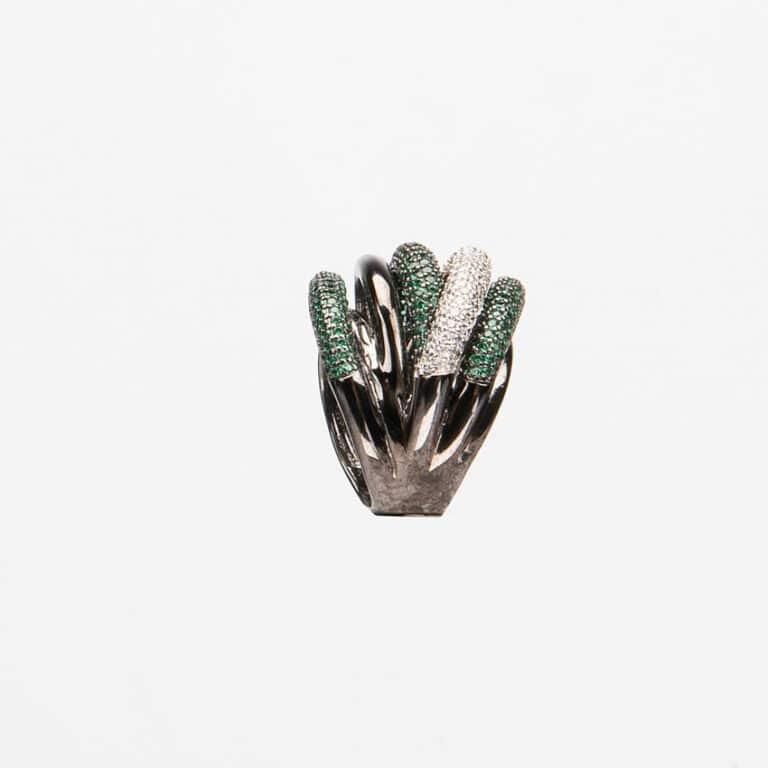 Anello fascia archi pavè crystal verde smeraldo 2