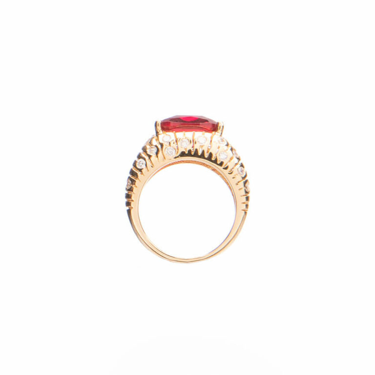 Anello fascia con pietra centrale color rubino 4