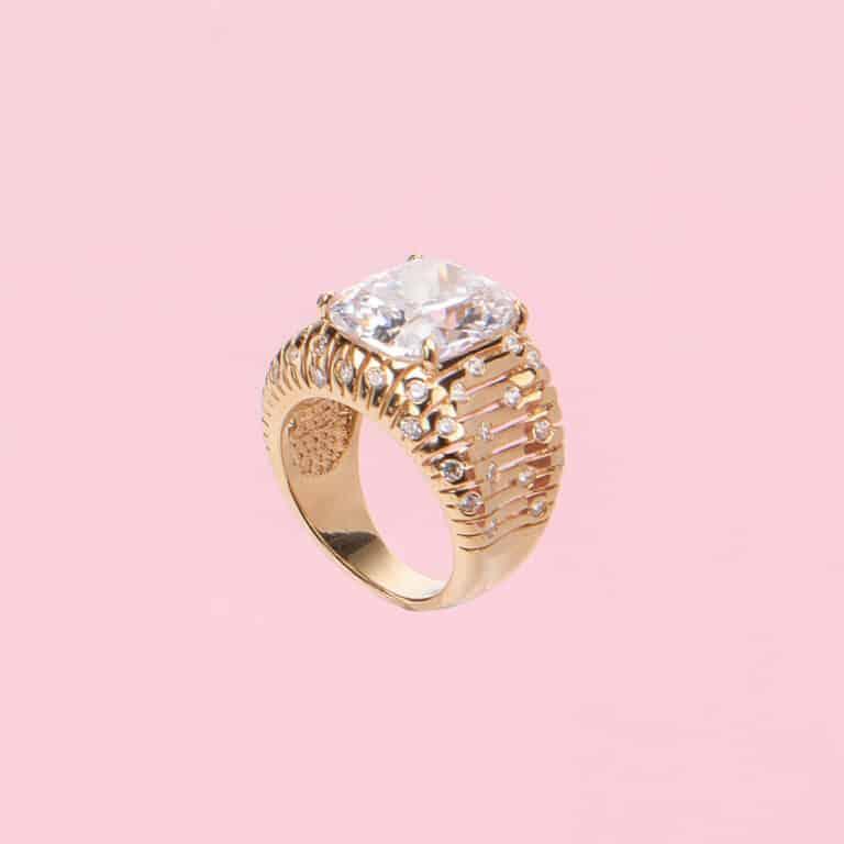 Anello pietra centrale crystal 4