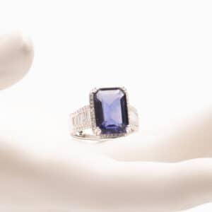 Anello pietra zaffiro tanzanite zirconi baguette 1