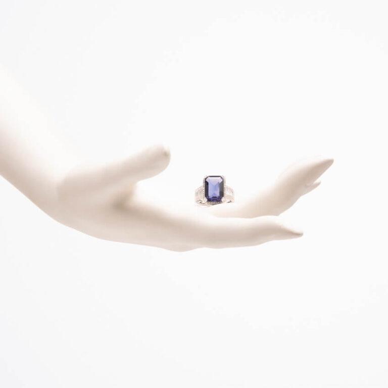Anello pietra zaffiro tanzanite zirconi baguette 3