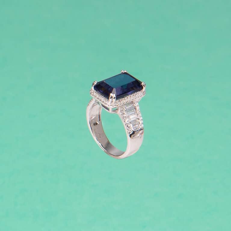 Anello pietra zaffiro tanzanite zirconi baguette 4