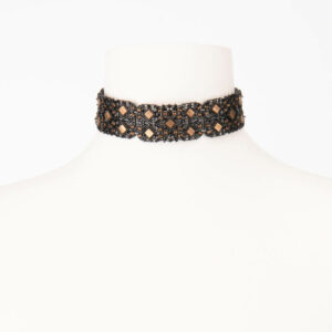 Girocollo choker cristalli neri madreperla brown