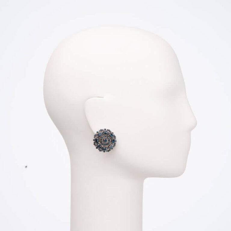 Orecchino clip cristalli blu1