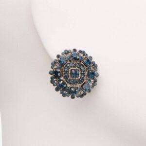 Orecchino clip cristalli blu 2