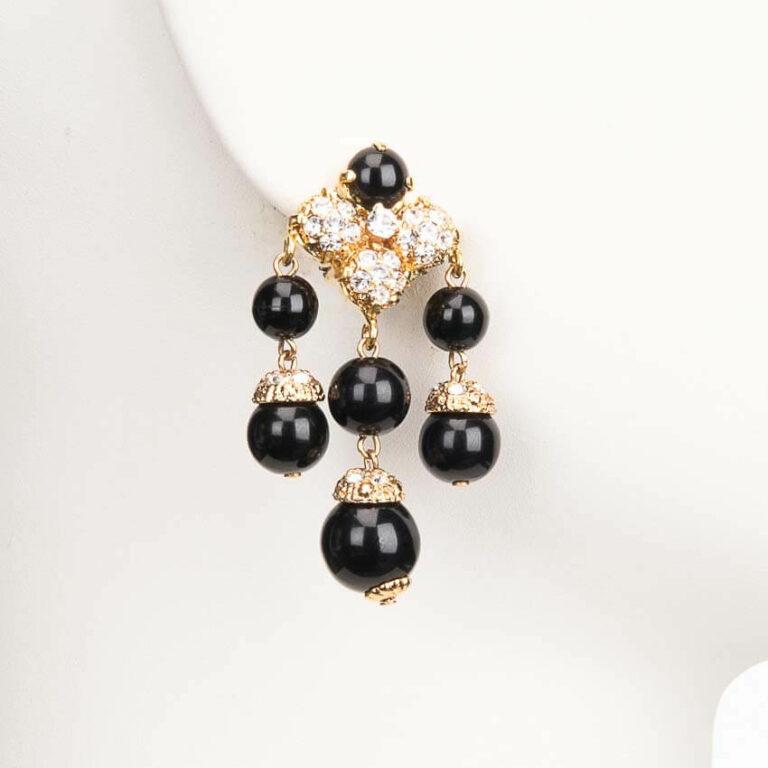Orecchino clip pendente crystal oro nero