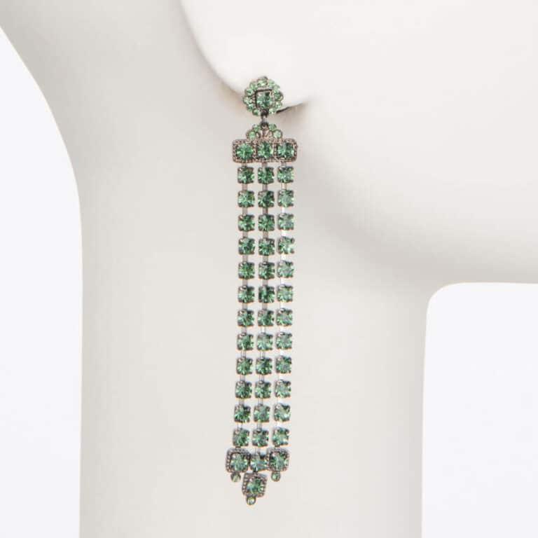 Orecchino perno cascata cristalli verdi 1