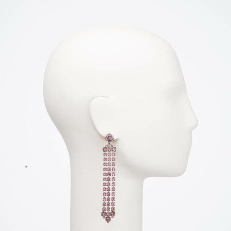 Orecchino perno cascata cristalli rosa 3