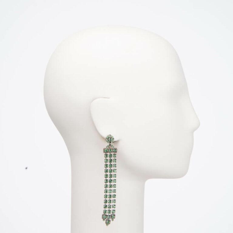 Orecchino perno cascata cristalli verdi 2