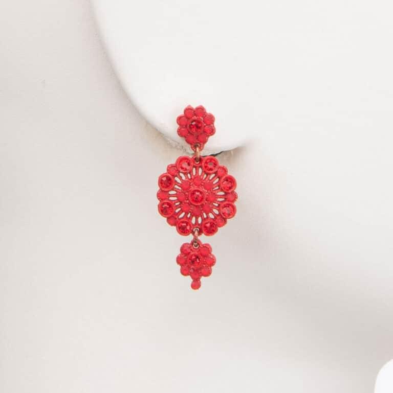 Orecchino perno cerchio cristalli rosso valentino 1