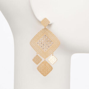 Orecchino perno motivi geometrici oro cristalli 1