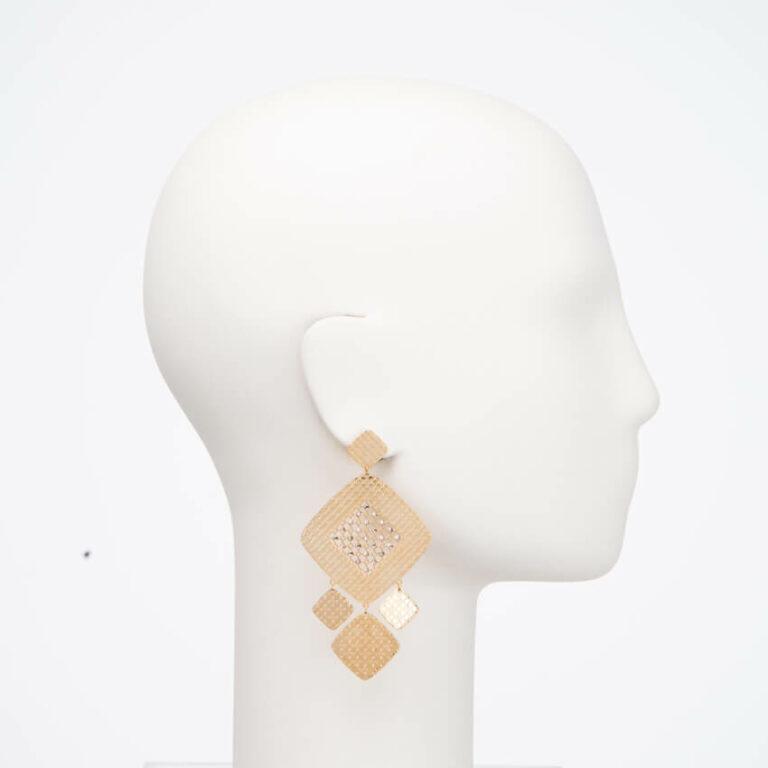 Orecchino perno motivi geometrici oro cristalli 2