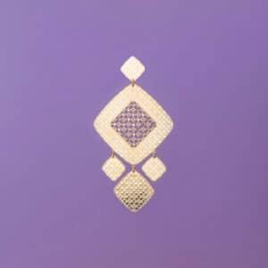 Orecchino perno motivi geometrici oro cristalli 3