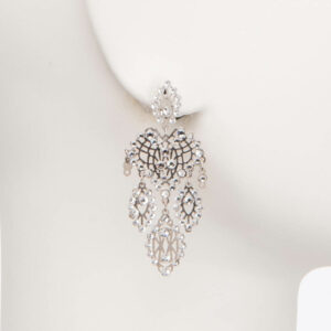 Orecchinoperno ricamogoccia argento cristalli 1