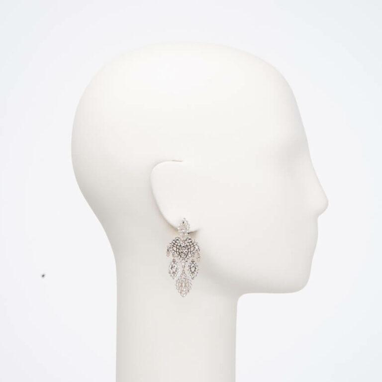 Orecchinoperno ricamogoccia argento cristalli 3
