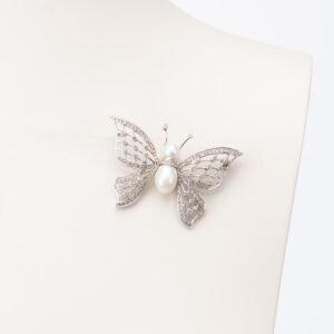 Spilla farfalla argento perle e zirconi 3