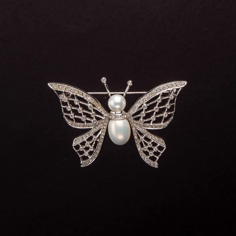 Spilla farfalla argento perle e zirconi 1