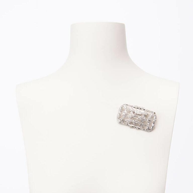 Spilla modello deco colore argento crystal 2