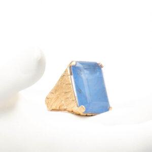 Anello argento placcato oro quarzo rettangolare blu 5