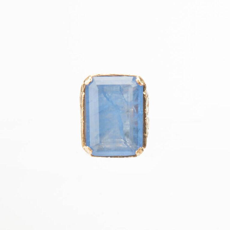 Anello argento placcato oro quarzo rettangolare blu 2