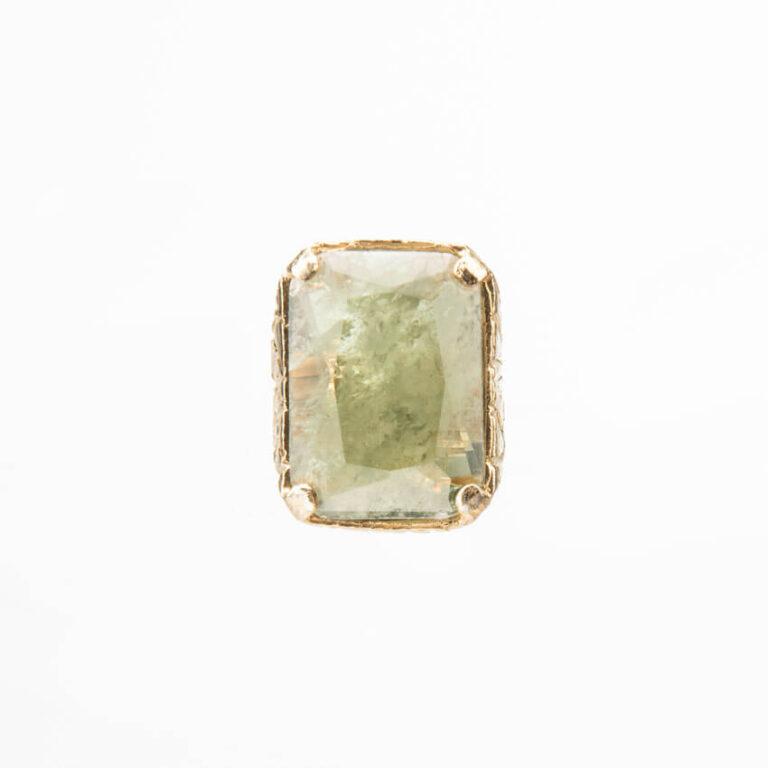 Anello argento placcato oro quarzo rettangolare verde 4