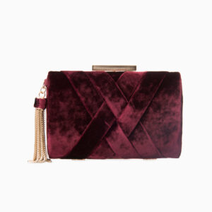 Clutch velluto bordeaux intreccio 1