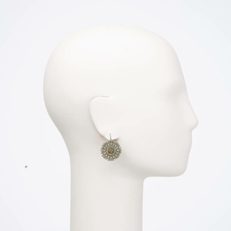 Orecchini monachella cristalli verdi madreperla brown 2
