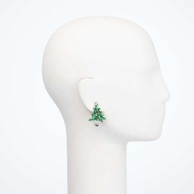 Orecchino clip albero Natale verde rosso crystal perle 2