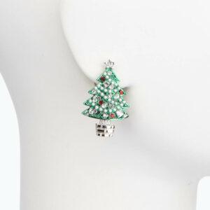 Orecchino clip albero Natale verde rosso perle 2