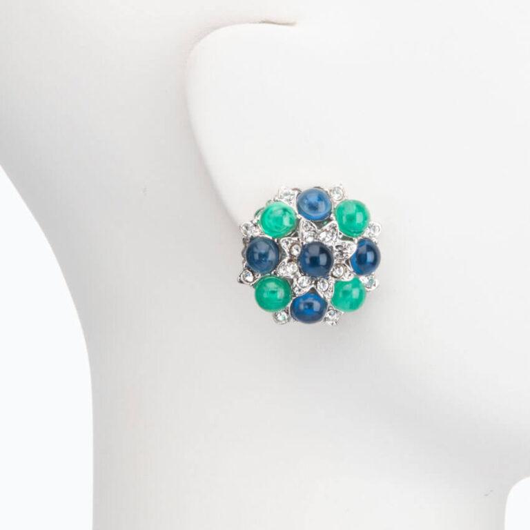 Orecchino clip argento smeraldo zaffiro 2