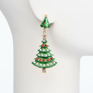 Orecchino clip pendente alberi Natale verde rosso perle 2