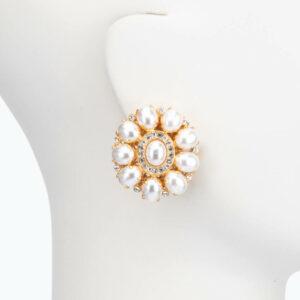Orecchino clip perle oro 1