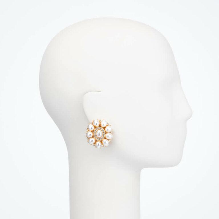 Orecchino clip perle oro 2