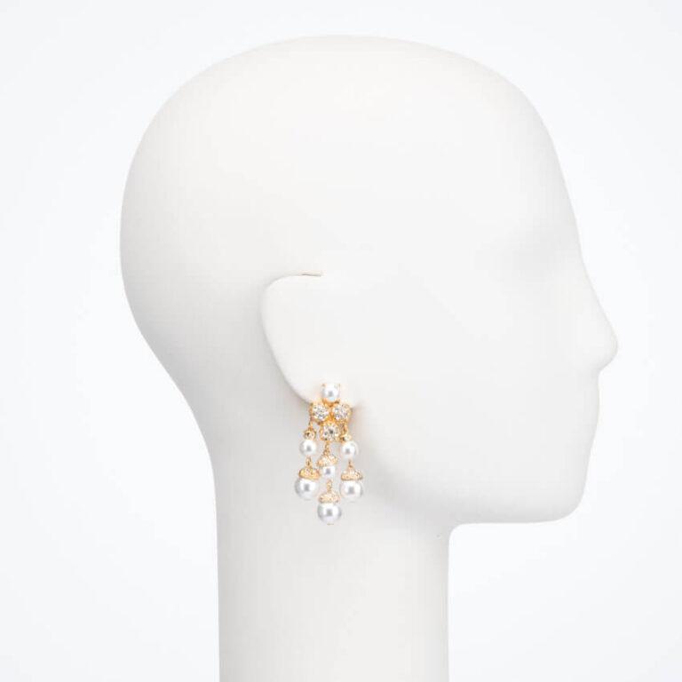 Orecchino clip perle oro cristalli 1