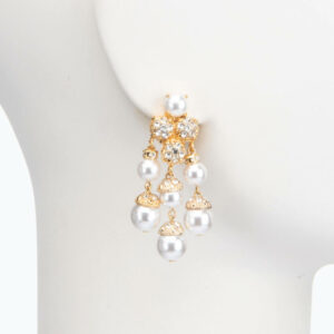 Orecchino clip perle oro cristalli 2