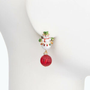 Orecchino clip pupazzo neve pendente rosso 2