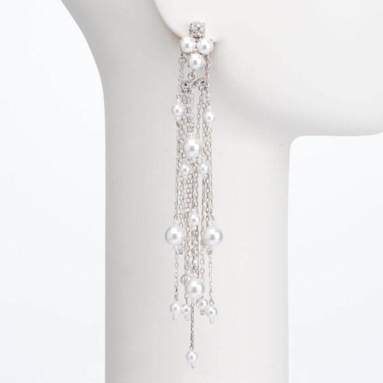 Orecchino pendente lungo clip perle cristalli 2