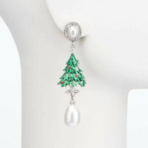 Orecchino perno albero Natale perle cristalli 2